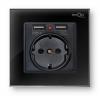Розетка с заземленням та 2 USB Profi therm Singl Elegant Black